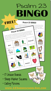 FREE Printable Psalm 23 Bible Bingo for Kids
