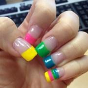 colorful zebra nail design