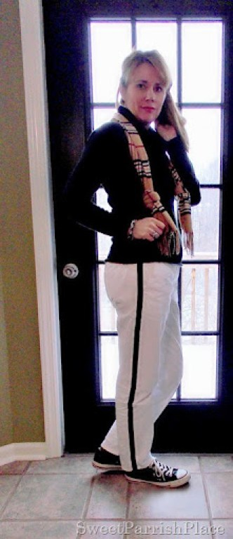 white tuxedo pants with plaid scarf and converse4