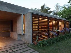 fachadas modernas vigas horizontales de madera