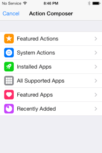 Launch Center Pro Action Composer