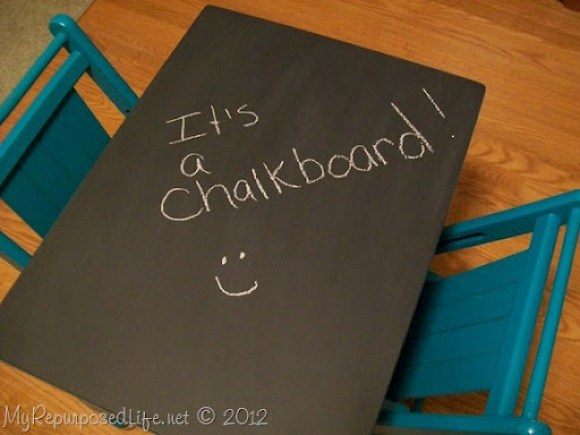 kids chalkboard table