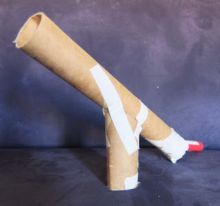yellowreadis.com Image: The pom pom canon, carboard rolls taped with masking tape