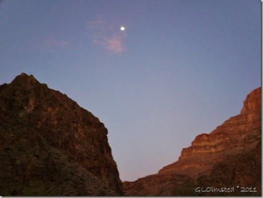 Moon above the canyon Diamond Creek Hualapai Reservation Arizona