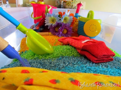 Rainbow Rice & Garden Sensory Play
