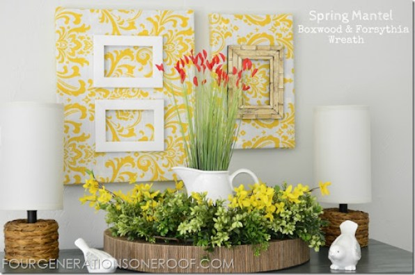 Boxwood and forsythia spring summer mantel