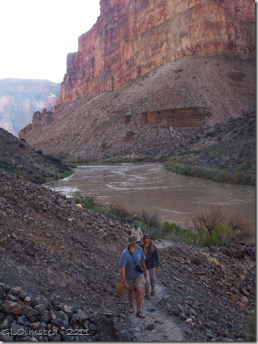 Walking down river to scout out Lava Falls Colorado River trip Grand Canyon National Park Arizona