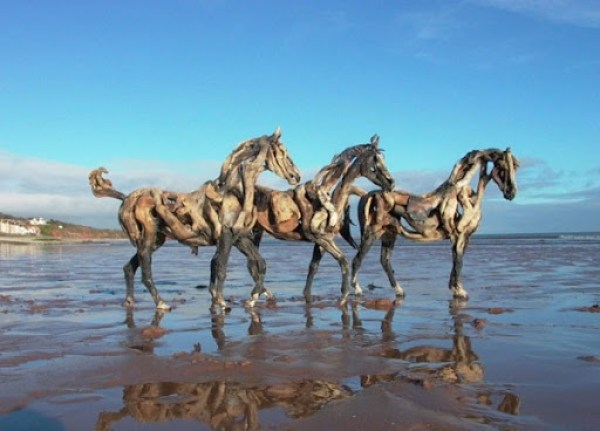 DRIFTWOOD-HORSES-THREE-AT-PLAY