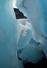 glacial blue inside Worthington Glacier