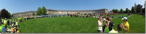 Human olympic rings world record attempt Bath Royal Crescent