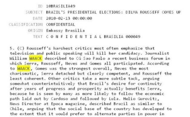 Documento relata reunião na qual Waack dá detalhes sobre os presidenciáveis em fevereiro
