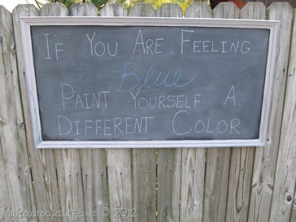 repurposed painting into a chalkboard