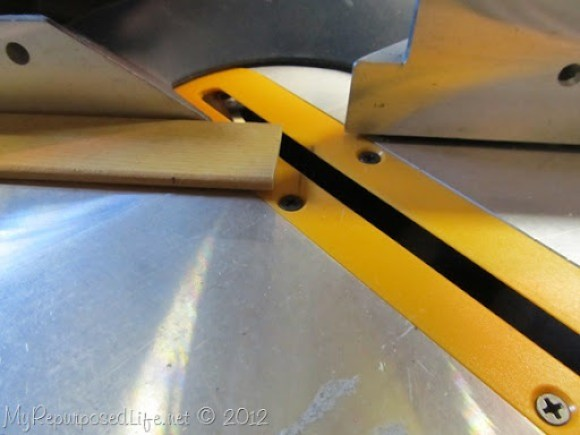 cutting slats on miter saw