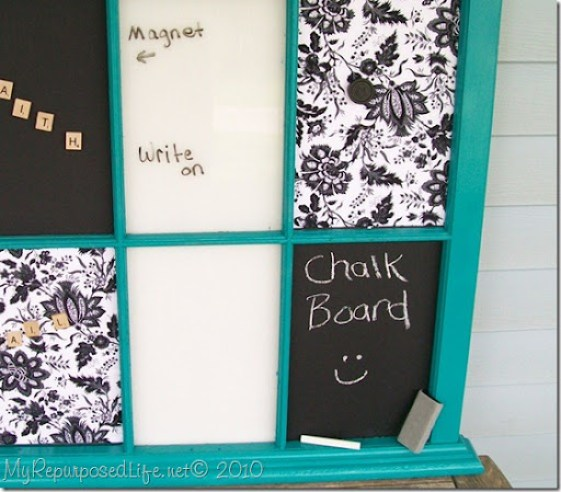 repurposed window into a memo board