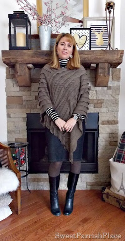 brown cape with black white striped turtleneck, denim pencil skirt and black wedge boots1