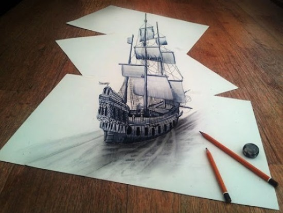 dibujo anamórfico buque