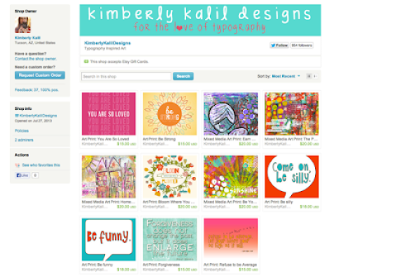 Etsy Shop Kimberly Kalil Designs