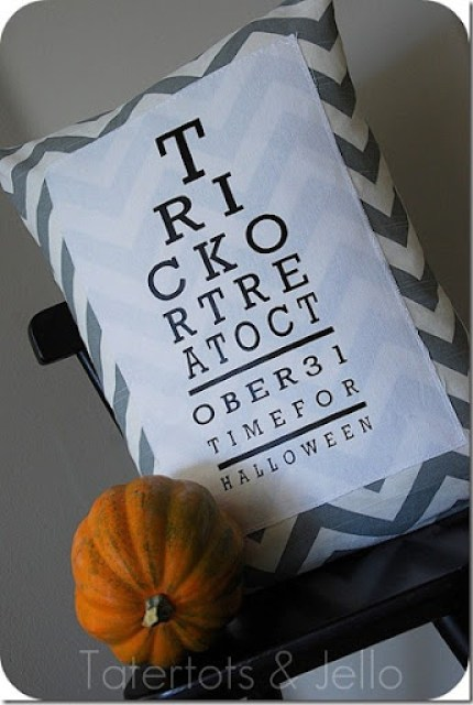 Chevron Halloween Eye Chart Pillow