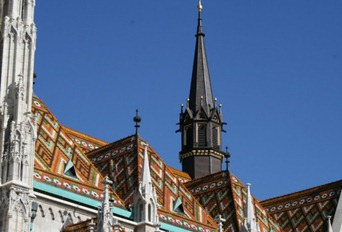 beautiful Hungarian tiles on the roof of St Matthias