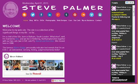 Desktop view of StevePalmer.com (April 2015)