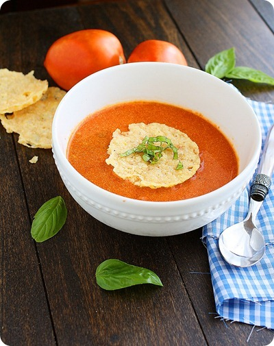 Roasted Tomato Basil Soup with Parmesan Crisps