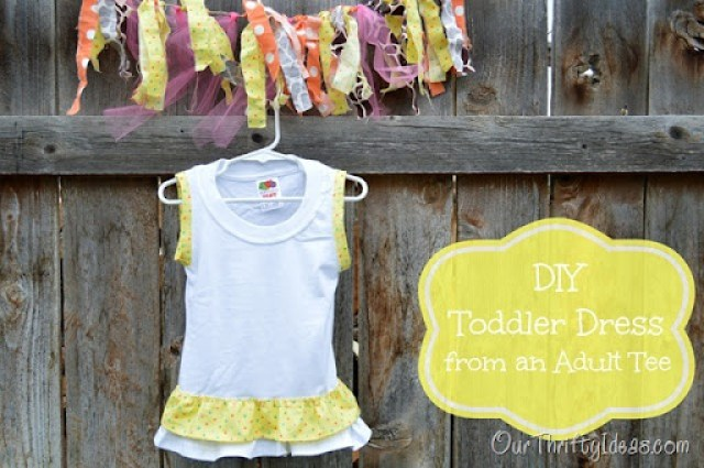 Use an adult plain tee and turn it into a DIY adorable toddler's ruffle dress. Also, enter to win one for yourself
