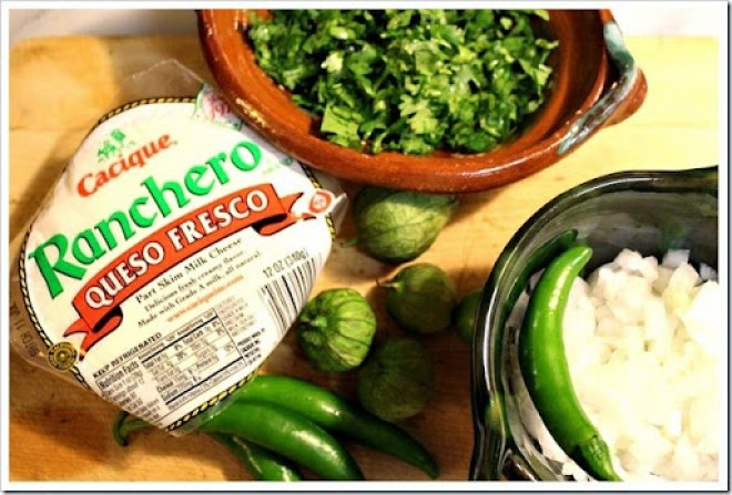 Cheese in chile verde