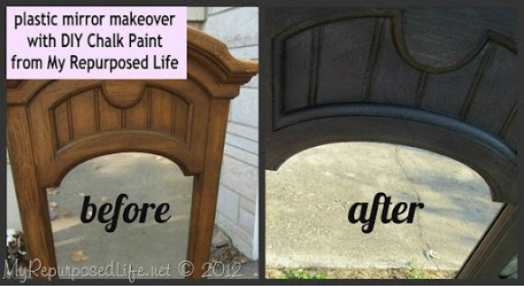 plastic framed mirror DIY chalk paint