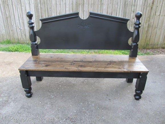 large black headboard bench