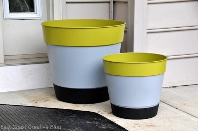 color block plastic planters