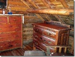Handmade furniture inside Johnny Sack's cabin, Big Springs, ID