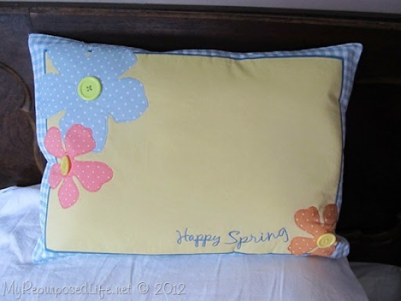 pillow made from a Happy Spring place mat