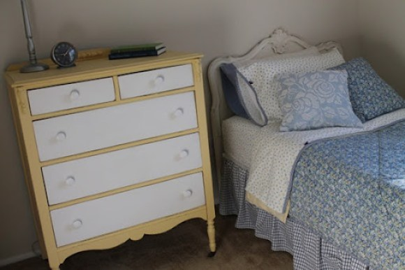 two toned dresser guest room