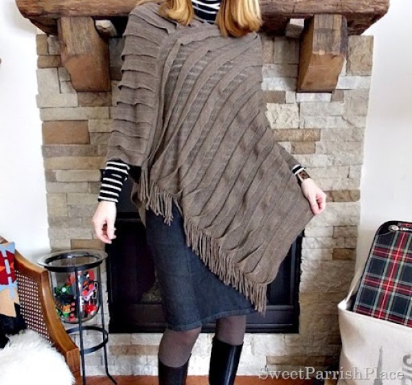brown cape with black white striped turtleneck, denim pencil skirt and black wedge boots2