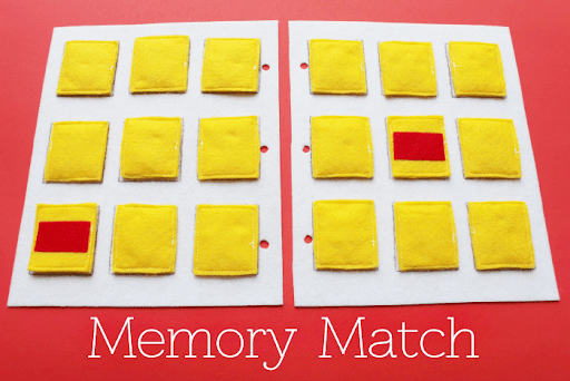 Simple Quiet Book Series - Memory Match Game by Serving Pink Lemonade (free template, too!)