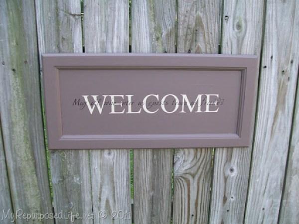 cupboard door sign | Welcome