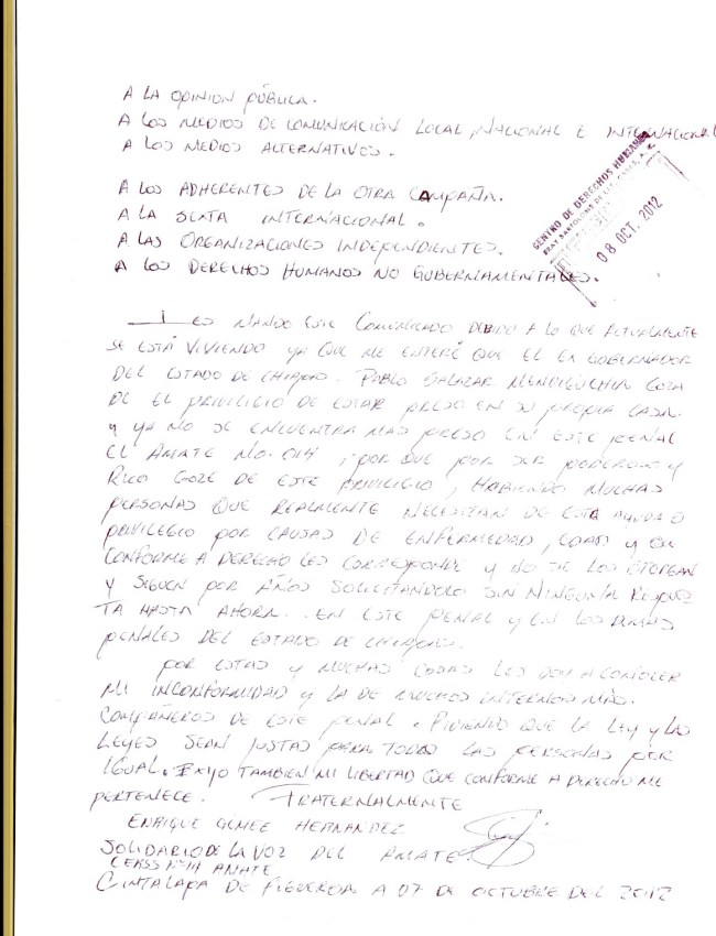 Enrique Gómez preso injusto solidario de la Voz del Amate