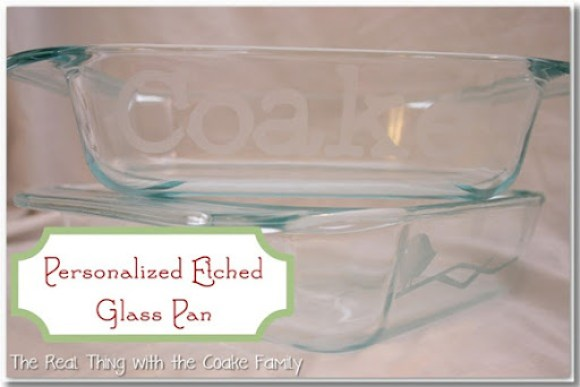 Homemade Christmas Gifts etched glass pan