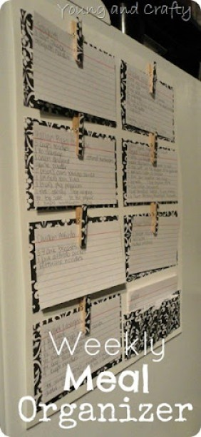 Weekly Meal Organizer from Young and Crafty Sisters - 8 DIY Menu Planner Ideas