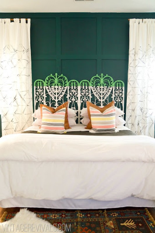 Unique Headboard Ideas Bedroom with Dip Dye Vintage Peacock Headboard White Bedding Green Walls White Curtains