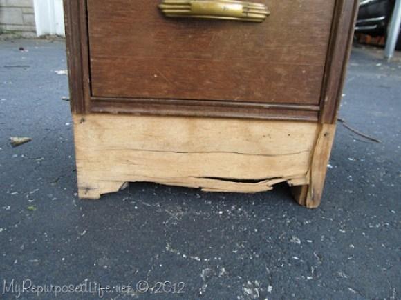 damaged vintage desk