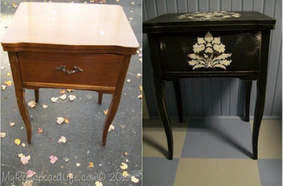 sewing machine cabinet curvy legs damask stencil