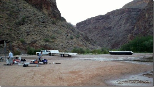 Setting up camp & breaking down S-rig Diamond Creek pullout Colorado River trip Hualapai Reservation Arizona