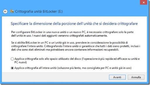 BitLocker specificare la dimensione della porzione di memoria dell'unità che si desidera crittografare