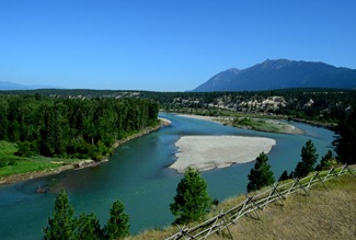 the Kootenay River from the water tower at Fort Steele