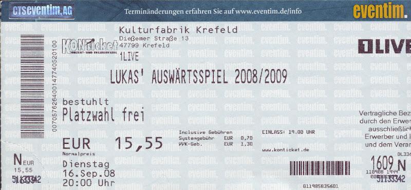 Eintrittskarte zu Lukas Auswärtsspiel in Krefeld 2008