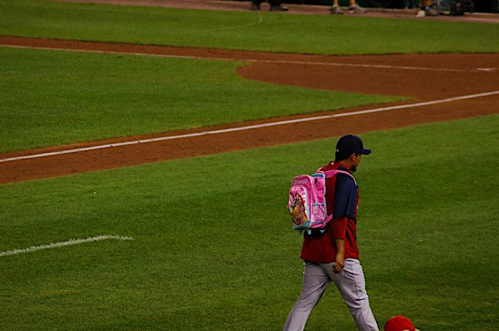Cardinal with Disney Princess backpack