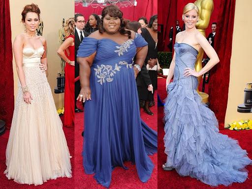 Oscars Dresses 2010 Miley Cyrus Jenny Packham Gabourey Sidibe Marchesa Elizabeth Banks Versace