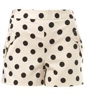 Polka Dots Cream Spotty Bow Shorts by Miss Selfridge