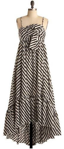 Black and White Spaghetti-Strapped Striped Maxi Dress by ModCloth